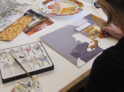 art student in the studio