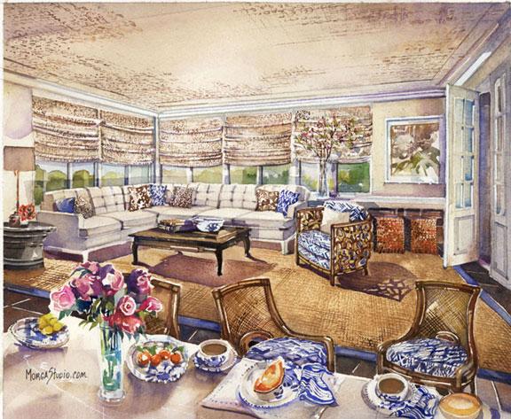 Rendering of designer Victoria Sanchez's family-room design for the DC Design House