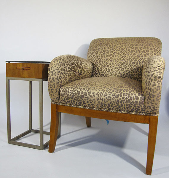 Cheetah chair with table for scale