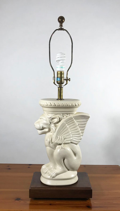 Gargoyle lamp with harp and finial