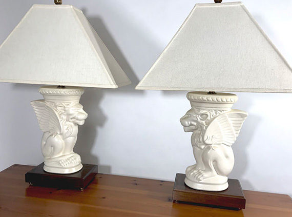 Gargoyle lamps with shades