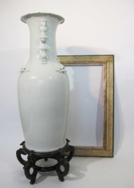 Chinese White Celadon Porcelain Tall Vase