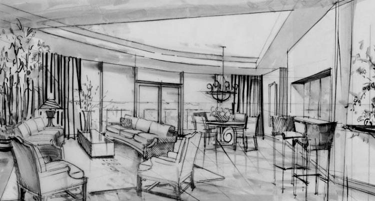 Concept sketches morgastudio for M concept interior design