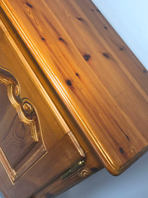 French Country Pine Console, top detail